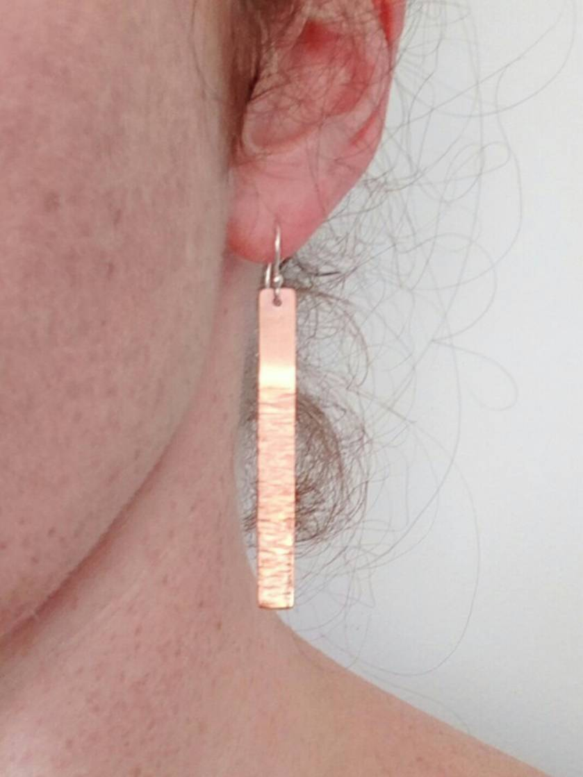 Copper long drop textured earrings
