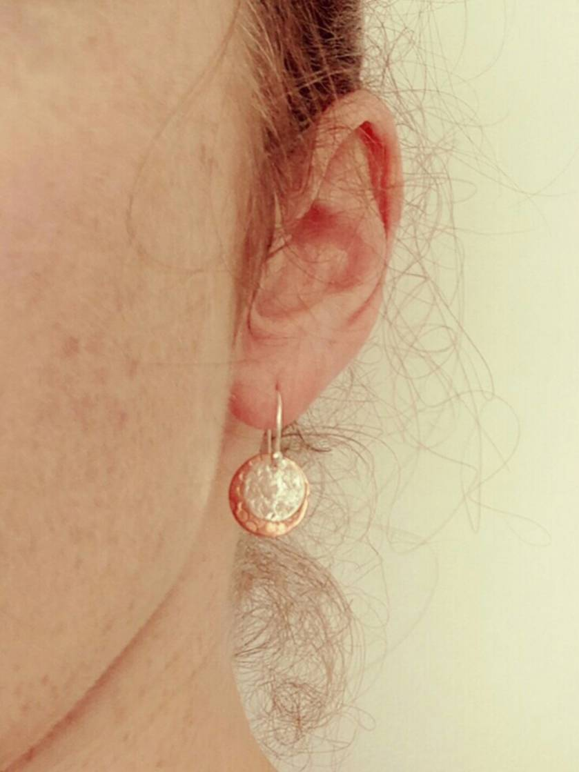 Sterling silver & copper disc earrings