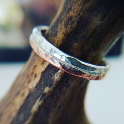 Sterling Silver & Copper Textured Ring