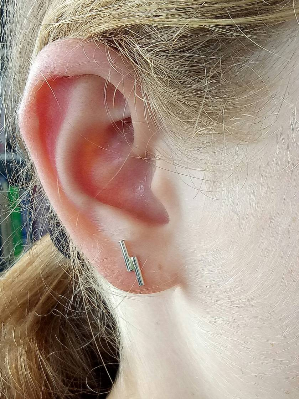Sterling Silver twin pin earrings
