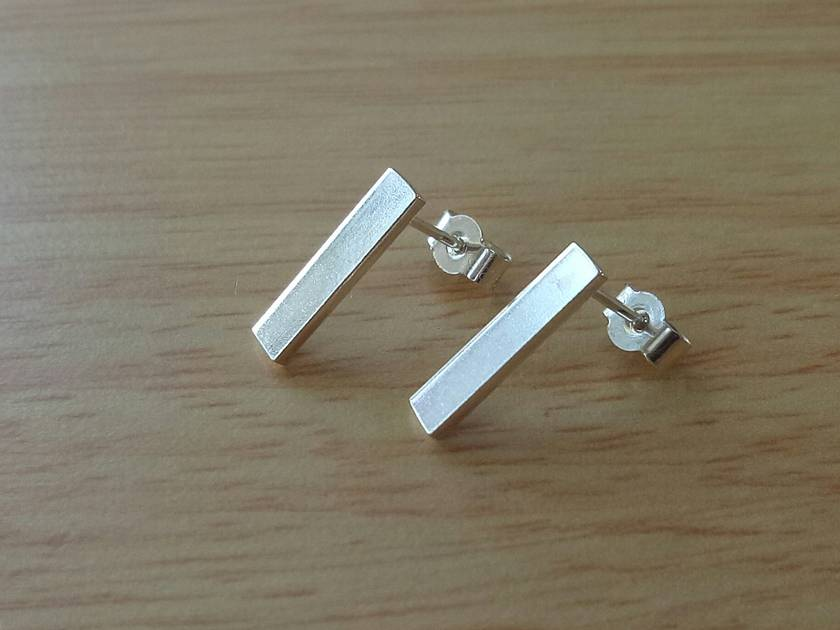 Sterling Silver earrings, simple & rectangular