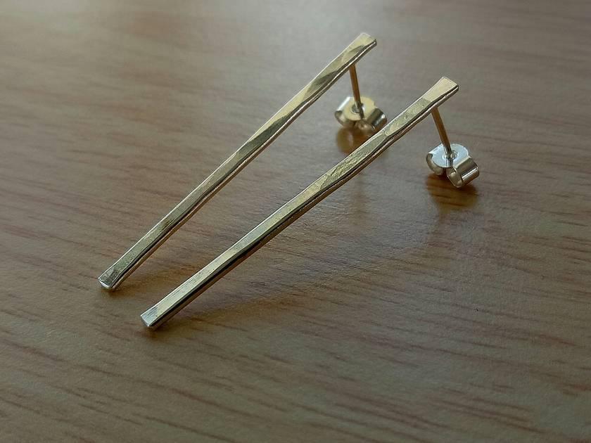 Sterling Silver long drop textured earrings
