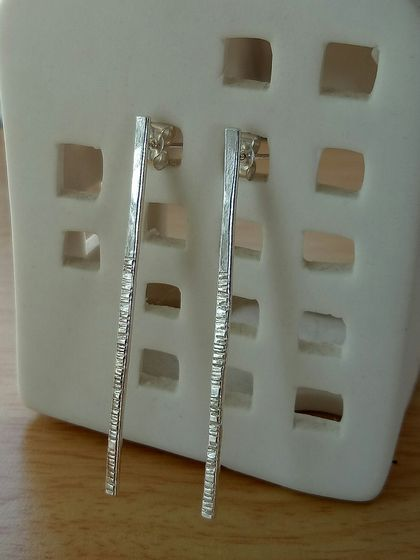 Long textured Sterling Silver earrings