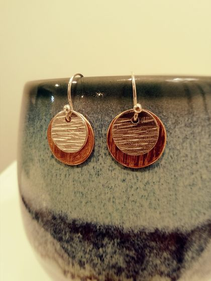 Textured Silver & Copper disc earrings