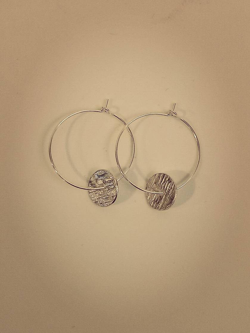Silver hoops with textured disc earrings