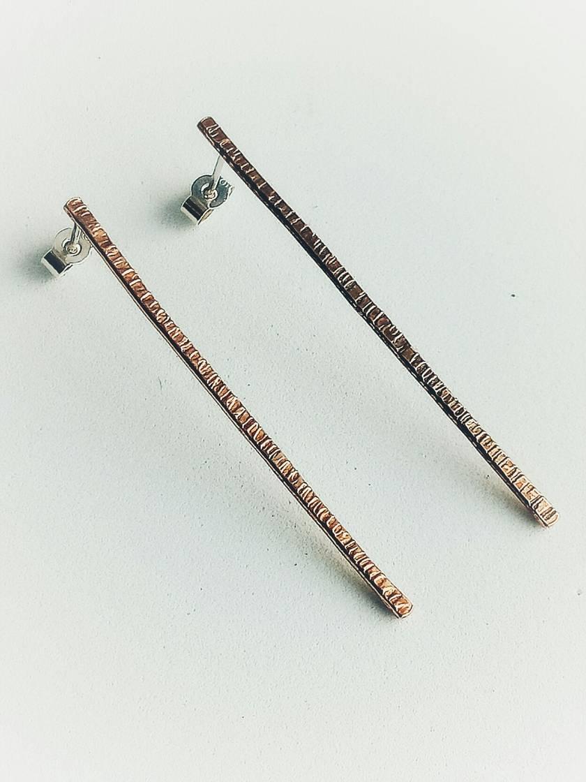 Long drop copper textured earrings
