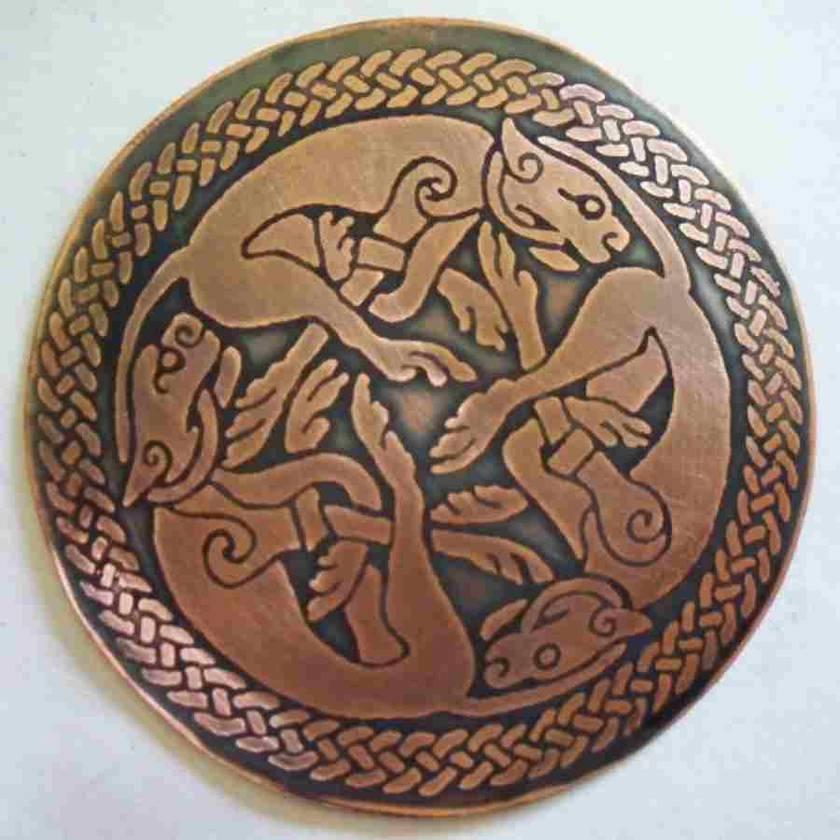 Celtic Copper Wolves Pendant 50 mm