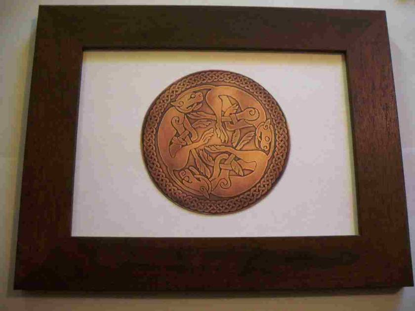 Celtic Copper Wolves Framed Etching