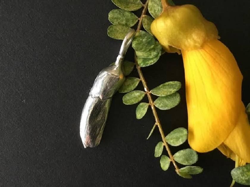 Kowhai Flower Bud on fine Sterling Silver Snake Chain