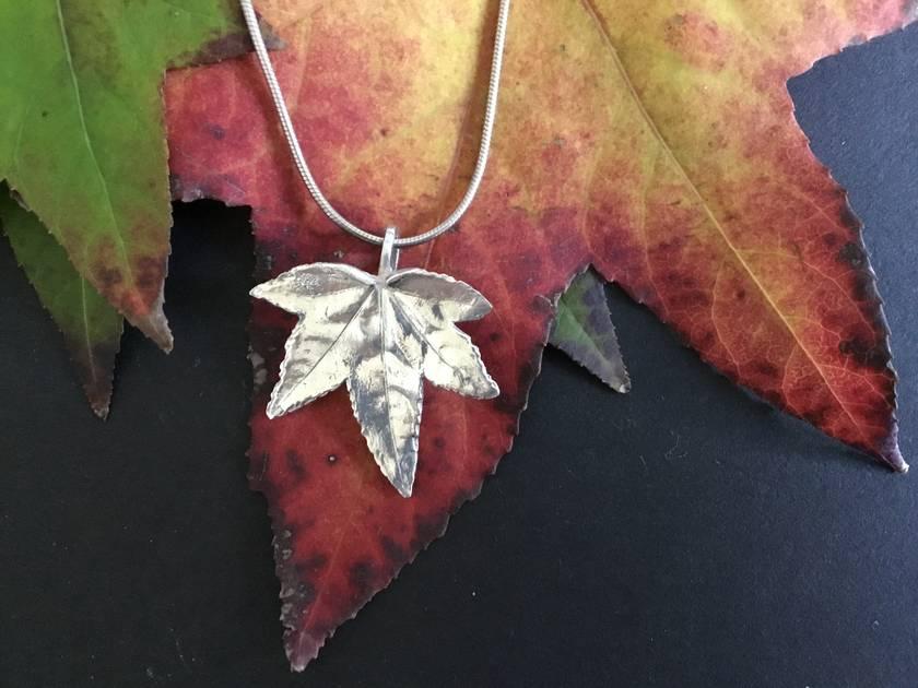 Maple Leaf on fine sterling silver snake chain