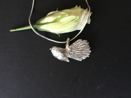 Fantail Bird on fine sterling silver snake chain