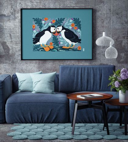 A3 Scottish Puffins in Love — Fine Art Giclee Print