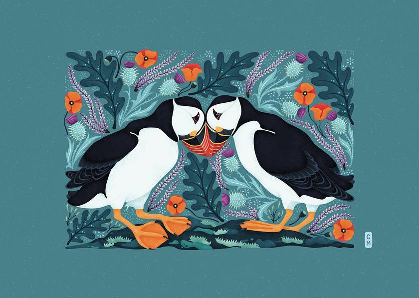 Scottish Puffins — A3 Fine Art Giclee Print
