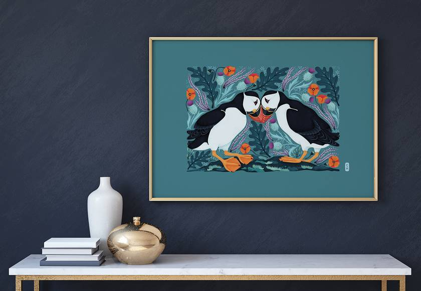 A3 Scottish Puffins in Love — Fine Art Giclee Print