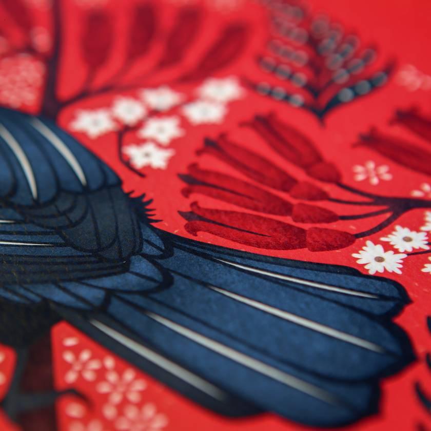 A3 Scarlet Tui — Fine Art Giclee Print