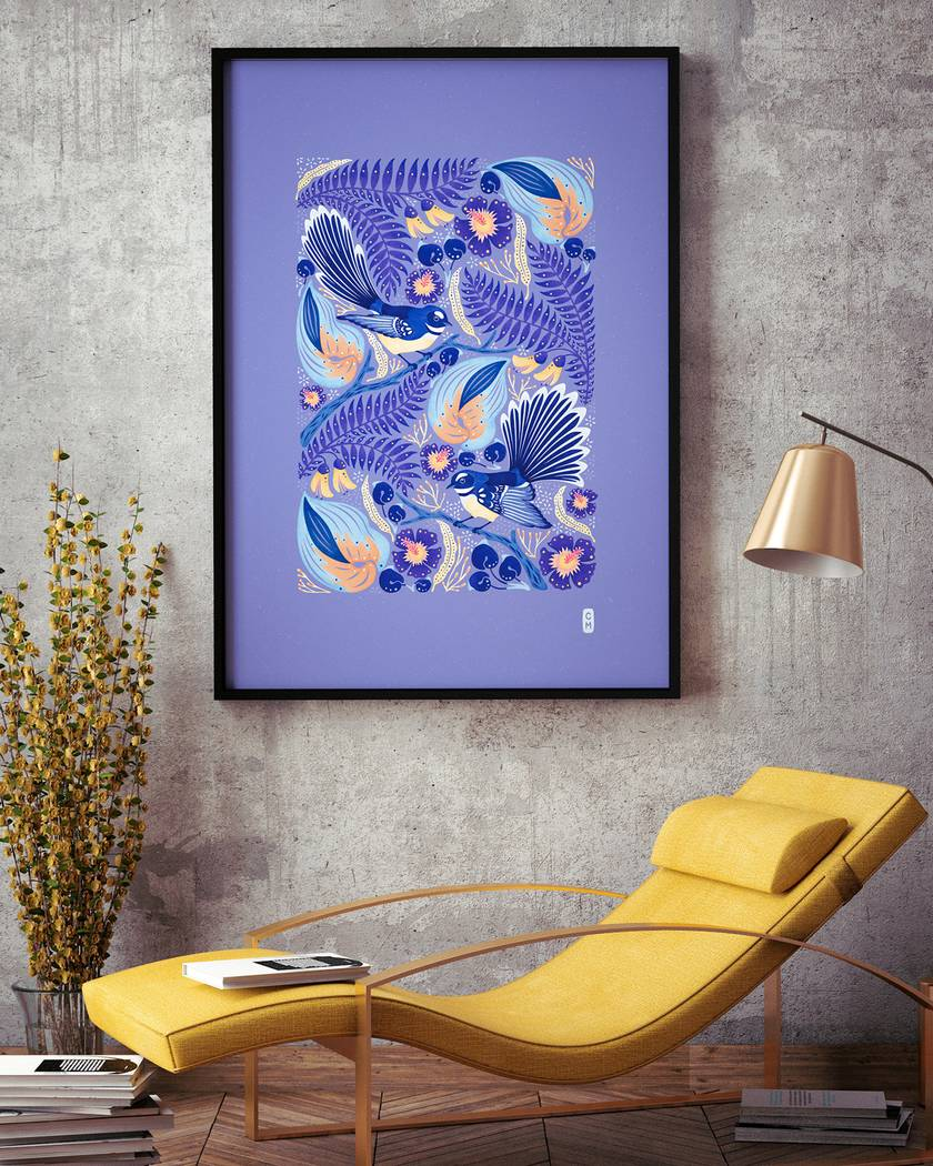 A1 Fantails Dancing in the Kōwhai Tree — Fine Art Giclee Print