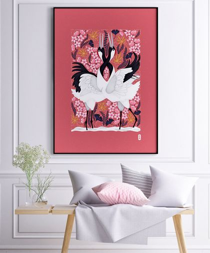 A3 Japanese Cranes Love Dance in Spring — Fine Art Giclee Print