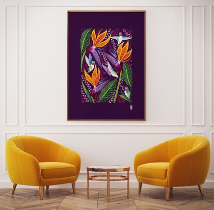 A3 Hummingbirds in Summer — Fine Art Giclee Print