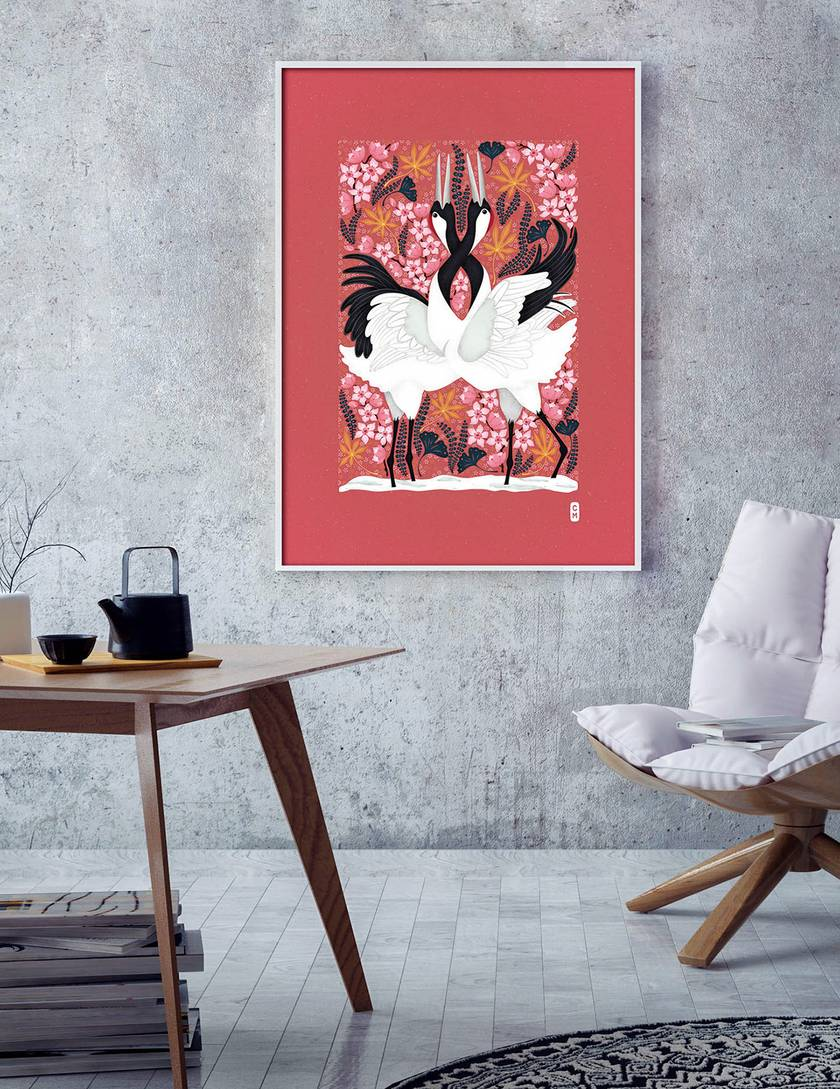 A2 Japanese Cranes Love Dance in Spring — Fine Art Giclee Print