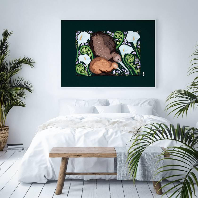 A1 Kiwi & Koru — Fine Art Giclee Print