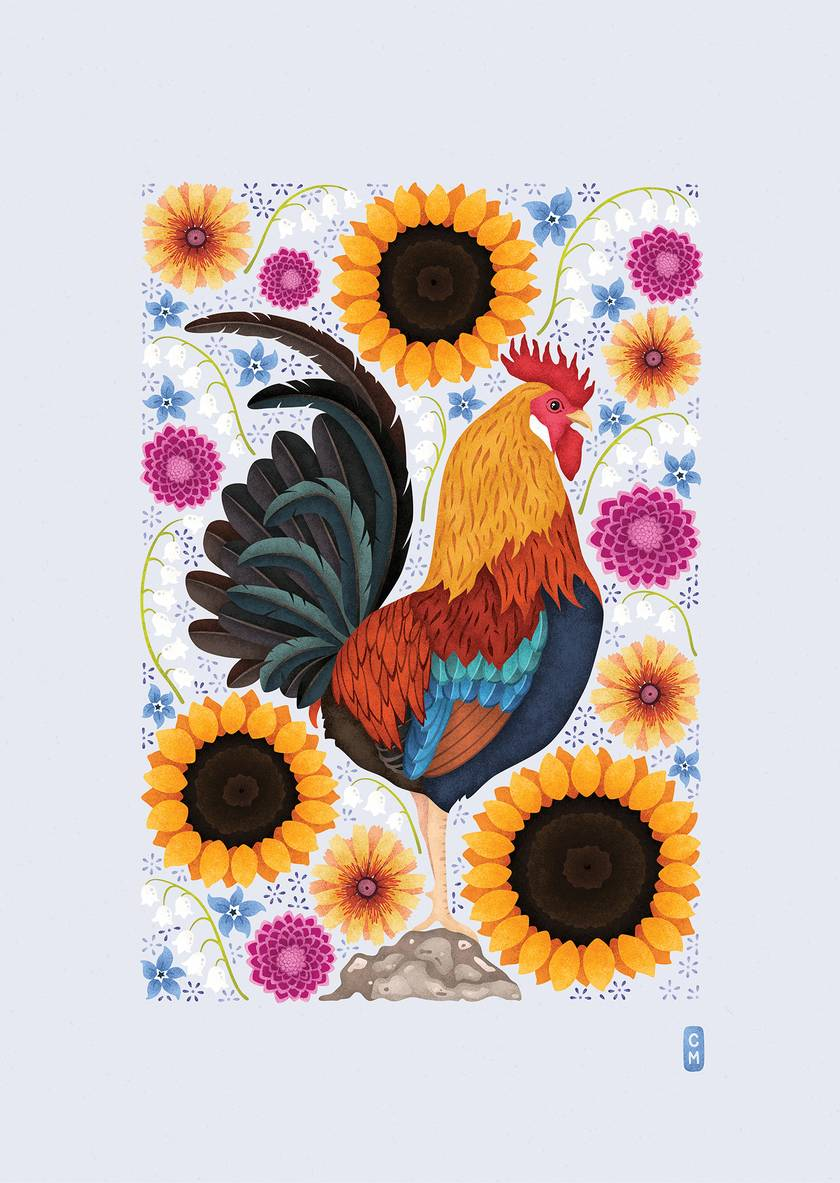 A1 Rooster & Wildflowers — Fine Art Giclee Print