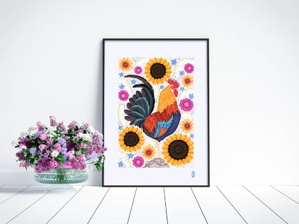 A3 Rooster & Wildflowers — Fine Art Giclee Print