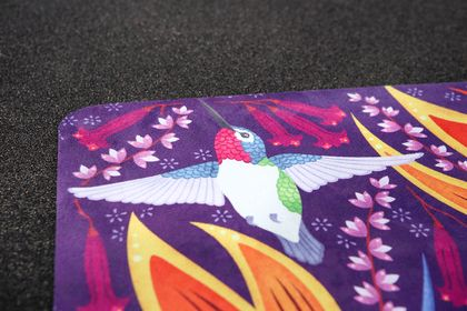 Suede Yoga Mat with Folklore & Flora's Hummingbirds Print