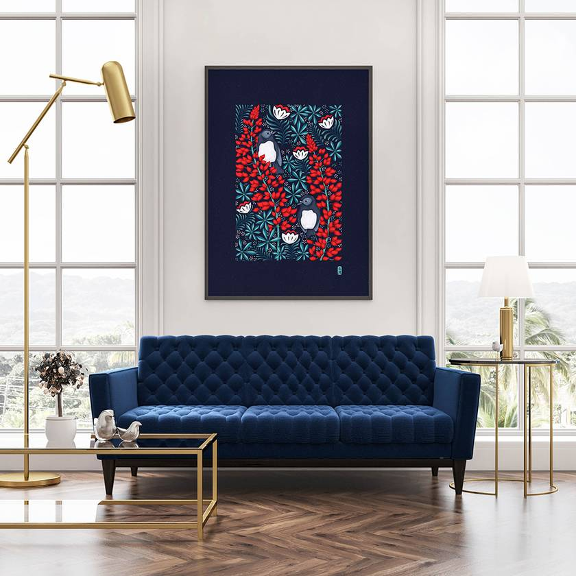 A3 South Island Robins & Lupins — Fine Art Giclee Print