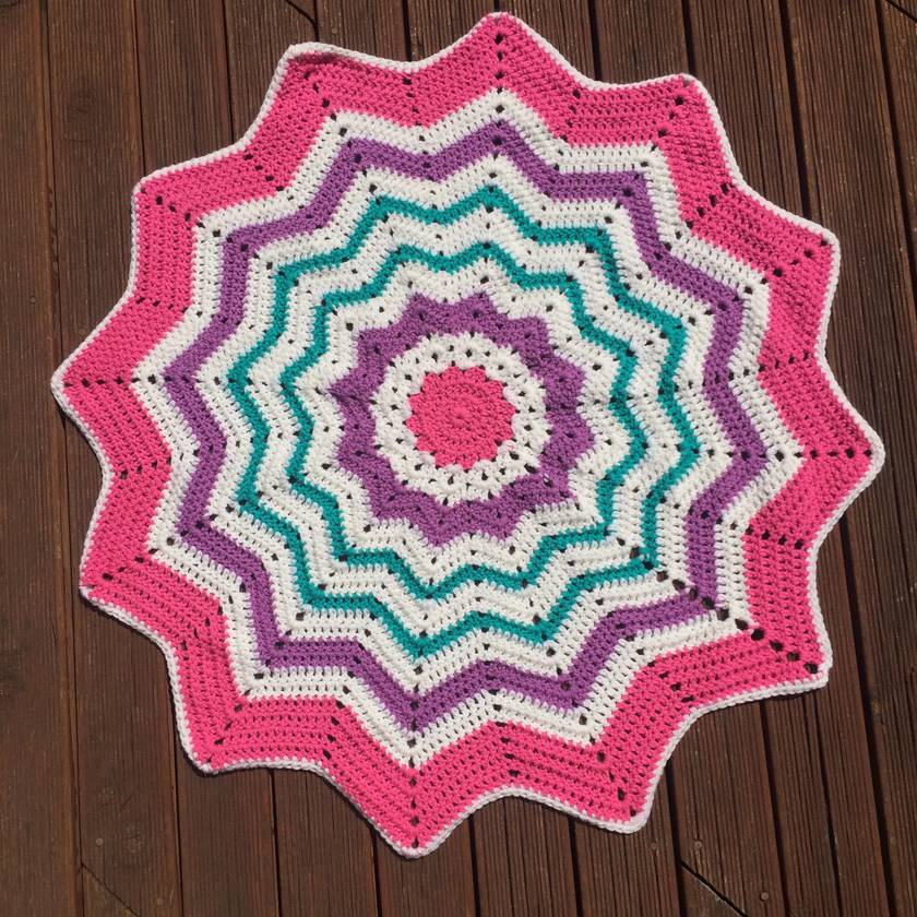 Crochet Striped Star Blanket: Purple, Pink and Teal