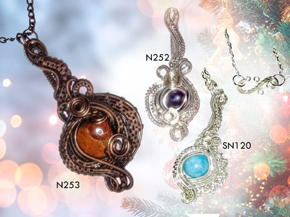 Precious Stone Swirl Necklaces