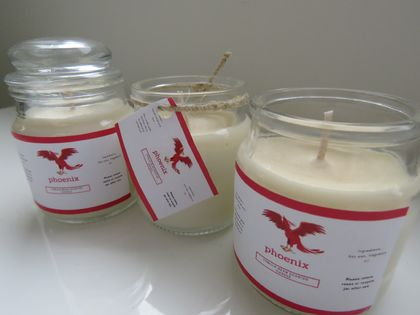 Vanilla creme repurposed jar candle - Phoenix