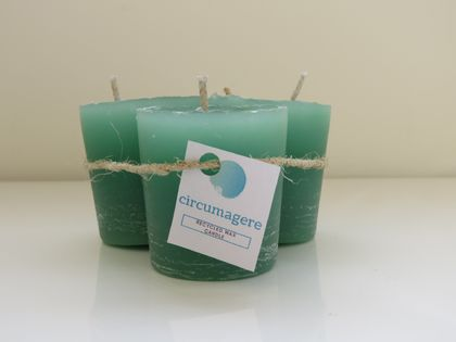 Recycled wax unscented votive candle