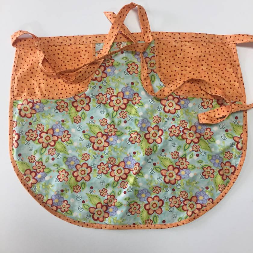 BNWOT Peg Apron Orange & Red Spot with Turquoise Floral Fabric