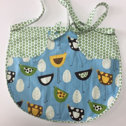 BNWOT Peg Apron Green & White Spot with Blue Stick Chooks Fabric