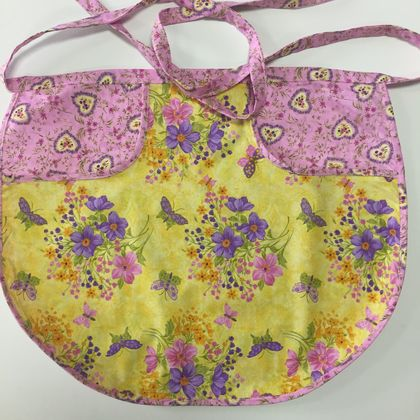 BNWOT Peg Apron Purple Floral or Pink Floral with Yellow Butterfly and Floral Fabric