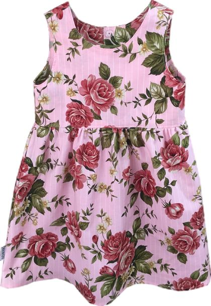 BNWOT Handmade Dress Age 1-6 Vintage Roses on Pink with White Pinstripe or Blue & White Paisley - 100% Cotton
