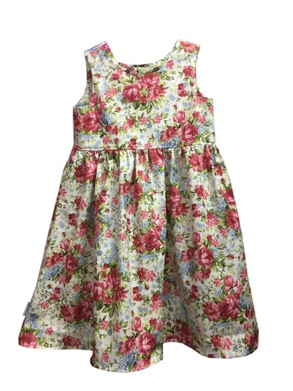 BNWOT Handmade Dress Age 1, 3 & 4 - Vine Roses Cream - 100% Cotton