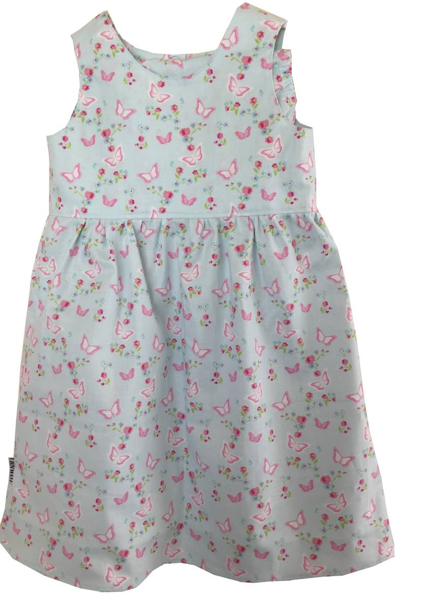 BNWOT Handmade Dress Age 1-3 - Pale Blue Butterflies & Roses - 100% Cotton
