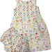 BNWOT Handmade Dress Age 1-2 - Multicoloured Spot & Swirls - 100% Cotton