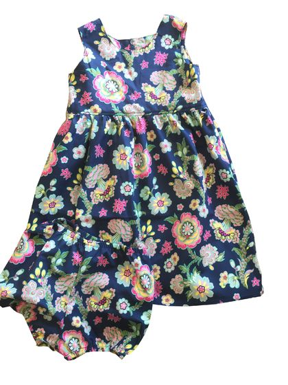 BNWOT Handmade Dress Age 3 - Indigo Bright Flowers - 100% Cotton