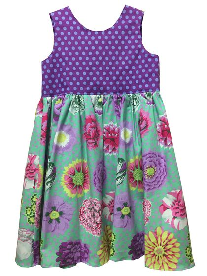 BNWOT Original Handmade Dress Age 5 - Kaffe Fassett Purple Spot & Big Blooms - 100% Cotton