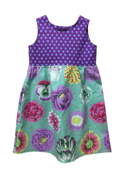BNWOT Original Handmade Dress Age 2 - Kaffe Fassett Purple Spot & Big Blooms - 100% Cotton