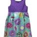 BNWOT Original Handmade Dress Age 2 - Kaffe Fassett Purple Spot & Big Blooms - 100% Cotton