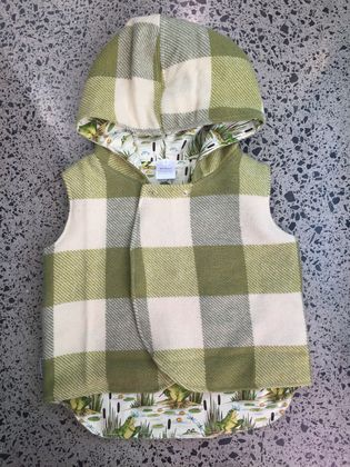 Green & Cream Check Reversible Upcycled 100% Wool Bodywarmer / Vest Lined 100% Cotton Green & Cream Frogs