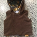 New Brown 100% Wool & 100% Cotton Lining with Trucks & Diggers Hooded Wool Vest - Fully Reversible