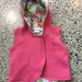 New Hot Pink 100% Wool & 100% Cotton Turquoise Floral Hooded Wool Vest - Fully Reversible