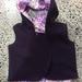New Deep Purple 100% Wool & 100% Cotton Multi Floral Hooded Wool Vest - Fully Reversible