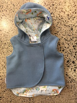 New Cornflower Blue 100% Wool & 100% Cotton Pale Blue Unicorns Hooded Wool Vest - Fully Reversible
