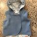 New Cornflower Blue 100% Wool & 100% Cotton Pale Blue Unicorns Hooded Wool Vest - Fully Reversible