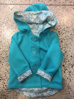 BNWOT ORIGINAL - New Turquoise 100% Wool & 100% Cotton Paisley Hooded Wool Coat - Age 6